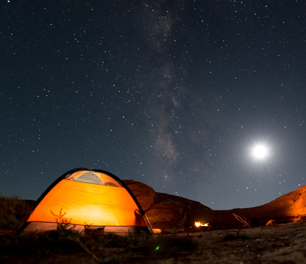 Orange Tent under Milky Way