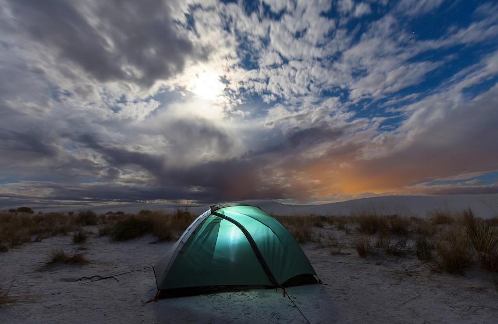 Tent in moonlight in White Sands Dunes, New Mexico,USA